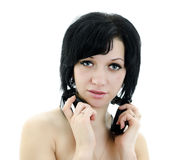 Brunette woman with headphones Royalty Free Stock Image