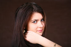 Brunette Woman With Healthy Hairs Stock Image