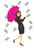 Brunette woman holding big purple umbrella Stock Image