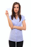 Brunette woman holding a blank businesscard Royalty Free Stock Photography
