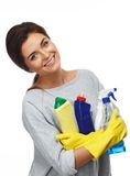 Brunette woman holding different cleaning stuff Stock Photo