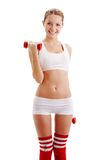 Brunette woman holding dumbbells Royalty Free Stock Images