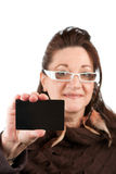 Woman Showing Gift Card royalty free stock photography