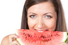 Brunette woman holding watermelon Stock Photo