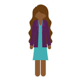 Brunette woman with jacket and wavy hair. Illustration Stock Images