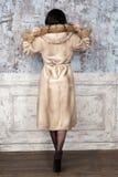 Brunette woman with jewelry wearing luxury fur coat. Fashion model girl portrait, studio shot. Winter clothes. Brunette woman with jewelry wearing luxury fur Stock Photo