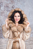 Brunette woman with jewelry wearing luxury fur coat. Fashion model girl portrait, studio shot. Winter clothes. Brunette woman with jewelry wearing luxury fur Royalty Free Stock Photography
