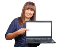 Brunette woman laptop notebook blank screen isolated Stock Image