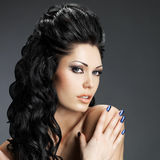 Brunette woman with long hairstyle Stock Image