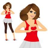 Brunette woman making love sign Stock Image
