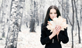 Brunette woman with maple leaves Royalty Free Stock Image