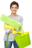 Brunette woman with mop and bucket Royalty Free Stock Photos