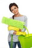 Brunette woman with mop and bucket Royalty Free Stock Image