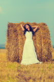 Brunette woman near hay bale Stock Photography