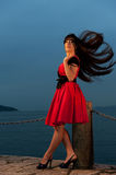 brunette woman outdoors Stock Photography
