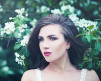 Brunette Woman Outdoors. Spring Beauty Stock Images