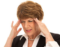 Brunette Woman with Painful Headache Royalty Free Stock Image