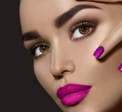 Brunette woman with perfect holiday makeup. Beauty brunette woman with perfect holiday makeup Royalty Free Stock Image