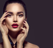 Brunette woman with perfect holiday makeup stock photo