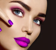 Brunette woman with perfect makeup Royalty Free Stock Image
