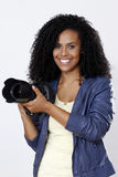 Brunette woman photographer Royalty Free Stock Photography