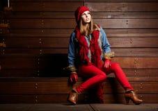 Brunette woman portrait in autumn color Stock Photos