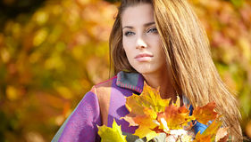 Brunette woman portrait in autumn color Stock Images