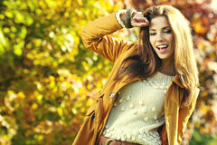 Brunette woman portrait in autumn color Royalty Free Stock Images