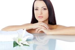 Brunette woman portrait with clear skin Royalty Free Stock Photos