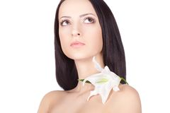 Brunette woman portrait with clear skin Stock Photo