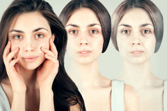 Brunette woman portrait with old skin,. Brunette woman portrait with old skin of three faces Royalty Free Stock Photos