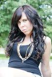Brunette woman portrait outdoors royalty free stock photos
