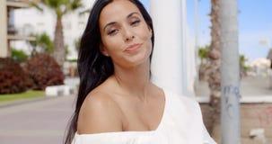 Brunette Woman Posing on Beach Front Promenade stock video
