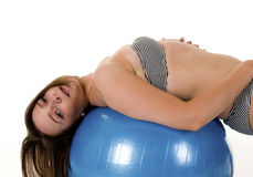 Brunette Woman - posing on Exercise ball Stock Photos