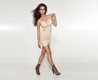 Brunette woman posing in fashionable dress. Royalty Free Stock Photography