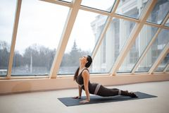 Brunette woman practicing yoga concept, stretching in Cobra exercise, Bhujangasana pose in front of large windows. working out, fu stock photo
