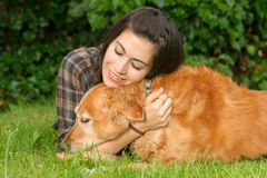Brunette Woman Praising Her Golden Retriever Dog Canine. A female shares a moment with her dog in the backyard Royalty Free Stock Image