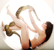 Brunette woman with python Stock Images
