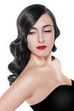 Brunette woman with red lips Stock Image
