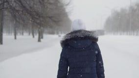 Brunette woman running through the park. follow me.  stock video