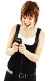 Brunette woman screaming at phone Royalty Free Stock Photography