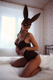 Brunette woman with sexy lingerie and fluffy bunny ears Royalty Free Stock Image