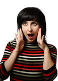 Brunette woman in shock Royalty Free Stock Photos