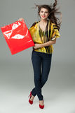 Brunette woman shopping bag Royalty Free Stock Image