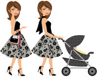 Brunette woman shopping or pushing baby buggy Stock Photo
