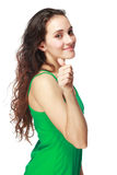 Brunette woman showing thumbs up Royalty Free Stock Images