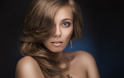 Brunette woman with silky hair Royalty Free Stock Photo