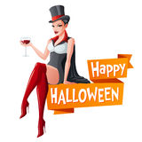 Brunette woman sitting with glass of wine in Dracula vampire Halloween costume and fangs. Cartoon style vector. Sexy brunette woman sitting with glass of wine in Royalty Free Stock Images
