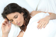 Brunette woman sleeping Royalty Free Stock Photo