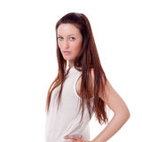 Brunette woman is smiling portrait isolated Stock Image